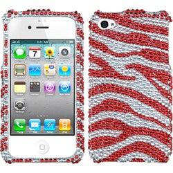 INSTEN Silver/ Red Zebra Skin Diamante Phone Case Cover for Apple iPhone 4/ 4S