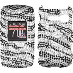 INSTEN Black Zebra Skin Diamante Phone Case Cover for Kyocera C2150