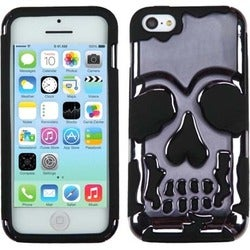 BasAcc Gun Metal/ Black Skullcap Hybrid Case for Apple iPhone 5C