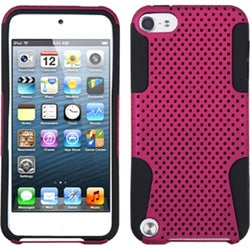 Insten Hot Pink/ Black Mesh Astronoot Hard PC/ Silicone Dual Layer Hybrid Case Cover For Apple iPod Touch 5th/ 6th Gen