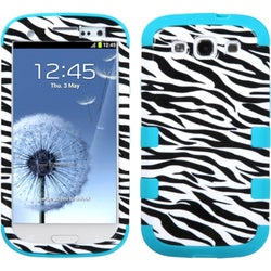 INSTEN Zebra Skin/ Teal TUFF Phone Case Cover for Samsung Galaxy S III i747