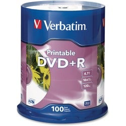Verbatim 16x DVD+R Media - 4.7GB - Ink Jet Printable - 120mm Standard