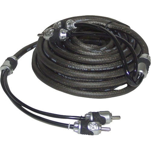 Brand X 20' Foot Hi-End Black/Silver Stereo RCA Cable