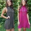 NEW Womens Sleeveless Solid Beach Tank Dress Sundress