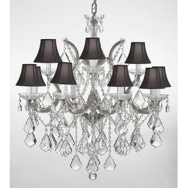 Swarovski Crystal Trimmed Chandelier Lighting With Black Shades