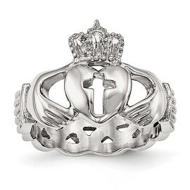 Stainless Steel Polished Claddagh with Cross Ring - Sizes 5 - 13