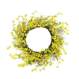 "30"" Decorative Yellow and Green Forsythia Artificial Spring Floral Wreath"