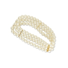 Goldtone Cultura Simulated Pearl Stretch Bracelet - 7in