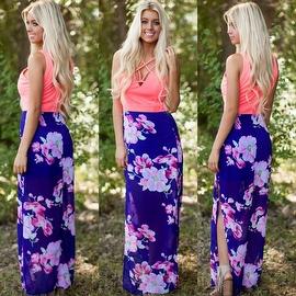 Women's Sleeveless Floral Printed Tank Maxi Dress