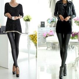 Fashion Sexy Women High Waist Matte Black Stretchy Faux Leather Pants Leggings