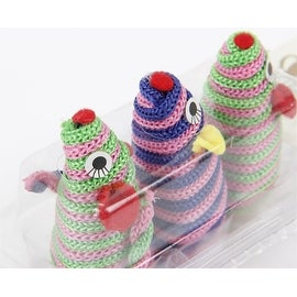 3-Piece Set of Pink Green and Blue Mouse Shaped Swatting Toys for Cats