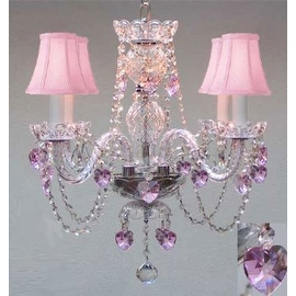 Crystal Chandelier with Pink Shades and Hearts - Perfect for Kid's Rooms