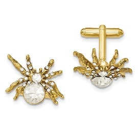 Goldtone White Crystal Spider Cuff Links