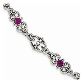 Silvertone Downton Abbey Purple Crystal Link Bracelet