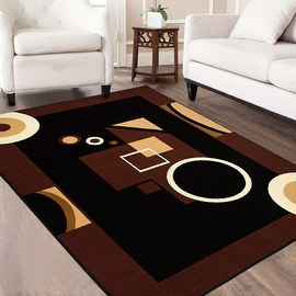 """AllStar Rugs Black Area Rug. Contemporary. Abstract. Traditional. Geometric. Formal. Shapes. Squares. Circles. (3' 9"""" x 5' 1"""")"""