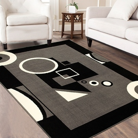 """AllStar Rugs Grey Area Rug. Contemporary. Abstract. Traditional. Geometric. Formal. Shapes. Squares. Circles. (3' 9"""" x 5' 1"""")"""