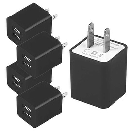 5 PACK 2A Wall Charger With Two Usb Ports AC Travel Adaptor Micro USB Charger For CellPhones BLACK (Adaptors Only)