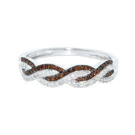 Cognac and White Diamond Anniversary Band Ring 1/5cttw 10K White Gold 5mm( 0.2cttw)