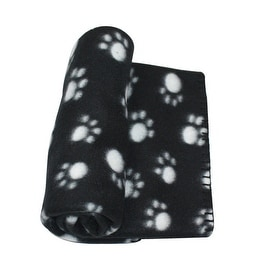 """Black and Light Gray Paw Print Patterned Soft Fleece Throw Blanket for Pet Beds 39"""" x 27.5"""""""