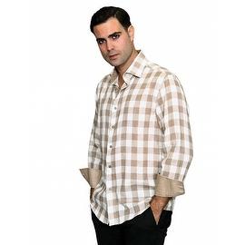 IN-62 Men's Manzini Tan Plaid Cotton Shirt with Solid Trim