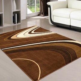 "AllStar Rugs Chocolate Modern Contemporary Black Area Rug (7' 10"" x 10' 2"")"
