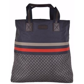 NEW Gucci 268112 Blue Web Stripe Diamante Large Tall Nylon Zip Tote Purse Bag