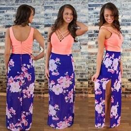Womens Casual Summer Floral Side Slit Maxi Beach Tank Dress Sundress