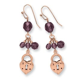 Copper Heart and Lock with Purple Crystals Earrings