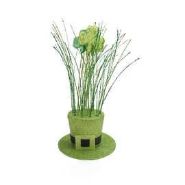 """11"""" Two Tone Green Glitter Shamrock Hat St. Patrick's Day Table Top Decoration"""