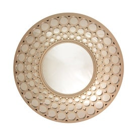 "24.75"" Glamorous Cascading Orbs Silver Framed Round Wall Mirror"