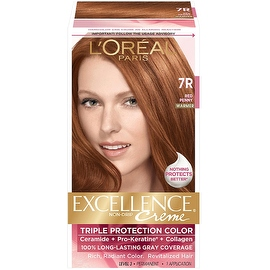 L'Oreal Paris Excellence Non-Drip Creme Hair Color, Red Penny (Warmer) [7R] 1 ea
