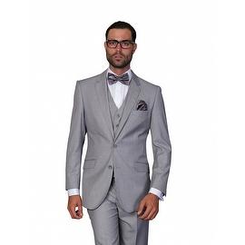 ST-100 Men's 3pc Solid GREY Suit, Modern Fit, 2 Button, 2 Side Vent, Flat Front Pants