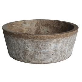 Brushed Natural Stone Vessel Sink - Afyon Noce Travertine