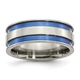 Chisel Titanium with Blue Double Groove 8.5mm Polished Band