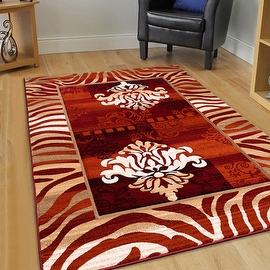 "AllStar Rugs Rust Hand Carved Indian Print Design Area Rug (7' 9"" x 10' 5"")"