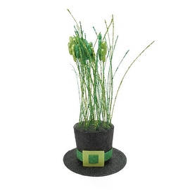 """11"""" Two Tone Green and Black Glitter Shamrock Hat St. Patrick's Day Table Top Decoration"""