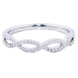 Infinity Wedding Band Anniversary Ring Twisted .125ctw Diamonds in Silver