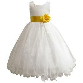 Wedding Easter Flower Girl Dress Paperio Ivory Rattail Satin Tulle (Baby - 14) Yellow Sunbeam
