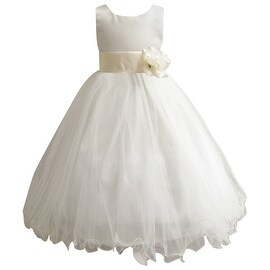 Wedding Easter Flower Girl Dress Paperio Ivory Rattail Satin Tulle (Baby - 14) Ivory
