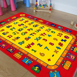 """AllStar Rugs Kids Area Rug. Bright Colors with Capital and Lowercase Letters (3' 3"""" x 4' 10"""")"""