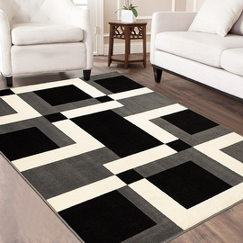 """AllStar Rugs Grey Area Rug. Contemporary. Abstract. Traditional. Geometric. Formal. Shapes. Squares. (3' 9"""" x 5' 1"""")"""