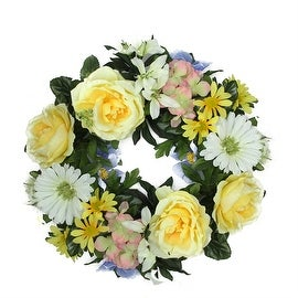 "18"" Decorative Yellow and Green Cabbage Rose and Daisy Flowers Artificial Spring Floral Wreath"