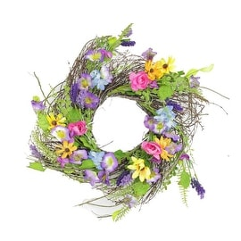 "24"" Decorative Multicolored Wild Flower Artificial Spring Floral Wreath"