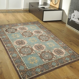 Light Blue AllStar Rugs Hand-Made High Quality Extra Clean Wool Area Rugs, Authentic, Classical, Patchwork Designs,