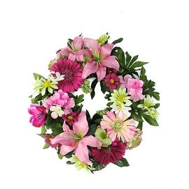 "18"" Decorative Pink and Green Tiger Lily and Daisy Flowers Artificial Spring Floral Wreath"