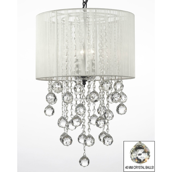 Crystal Chandelier Lighting With Large White Shade Crystal Balls Hfour Wfive Free Shipping Today