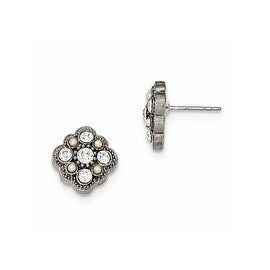 Silvertone Downton Abbey Simulated Pearl & Crystal Post Earrings
