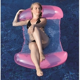 "61"" Pink and White 2 in 1 Mesh Inflatable Swimming Pool Lounger Float"