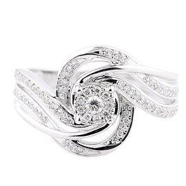 1/4cttw Diamond Ladies Wedding Ring Swirl 10K White Gold 13mm Wide (I/j Color 0.25cttw)