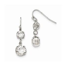 Silvertone White Austrian Crystal Elements Dangle Earrings